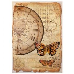 Stamperia - Rice Paper Sheet A4 - Mix Media Clock & Butterfly